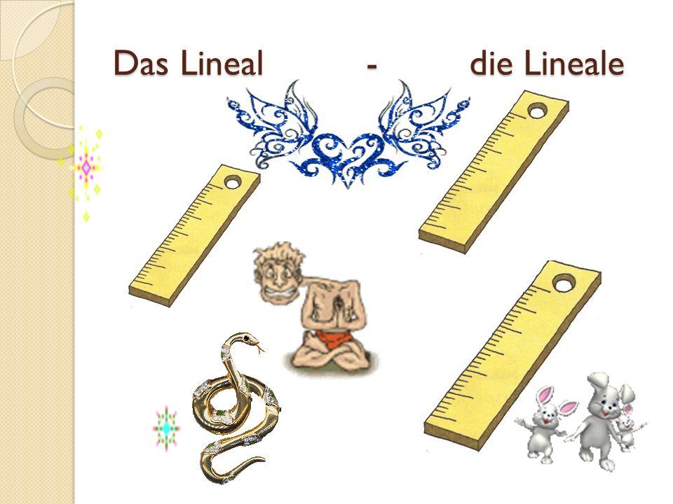 Das Lineal - die Lineale