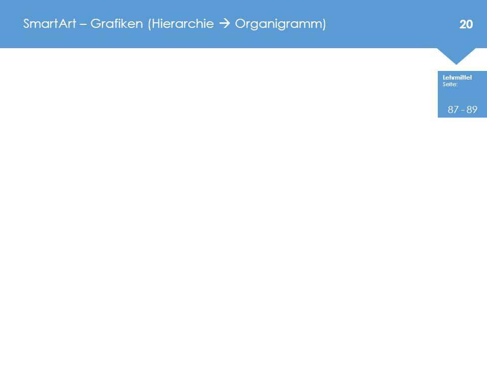 Lehrmittel Seite: SmartArt – Grafiken (Hierarchie  Organigramm) 20 87 - 89
