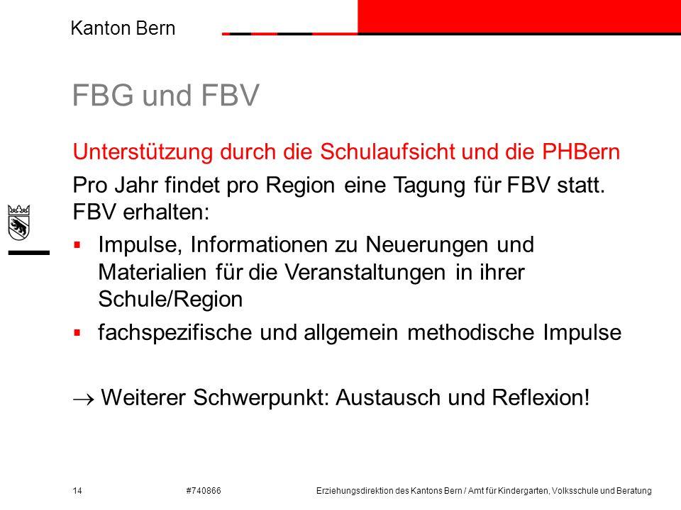 Kanton Bern #740866 FBG und FBV 14 Unterstützung durch die Schulaufsicht und die PHBern Pro Jahr findet pro Region eine Tagung für FBV statt. FBV erha
