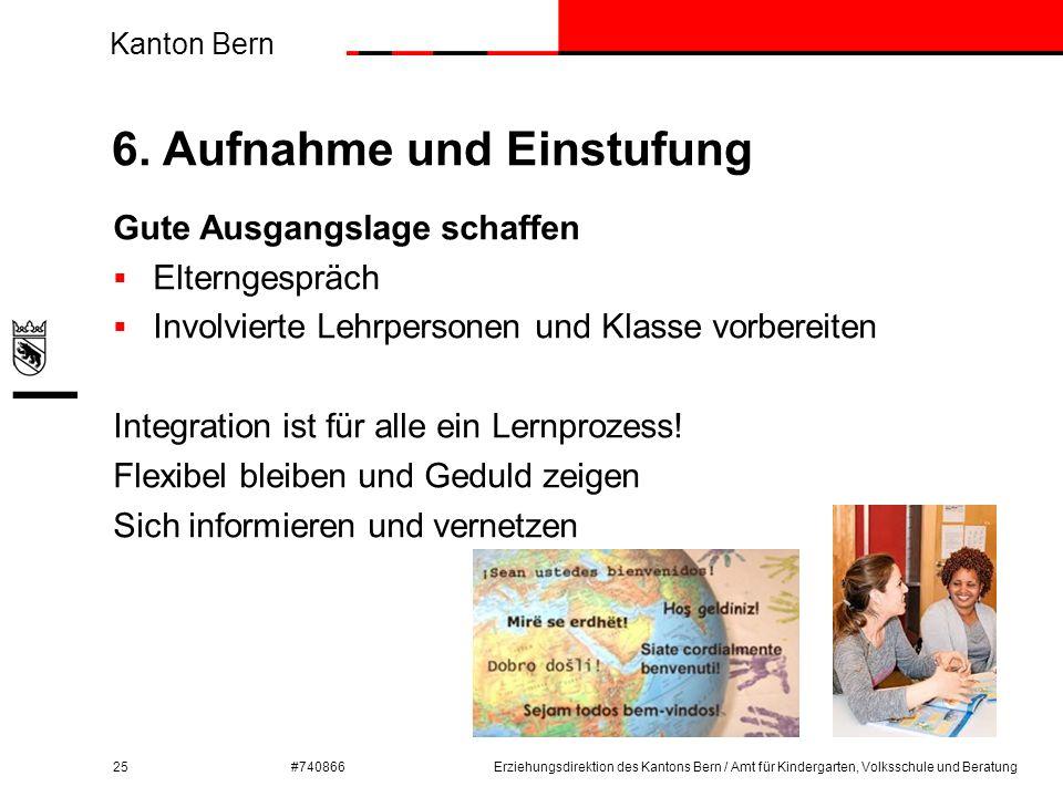 Kanton Bern #740866 6. Aufnahme und Einstufung 25 Gute Ausgangslage schaffen  Elterngespräch  Involvierte Lehrpersonen und Klasse vorbereiten Integr