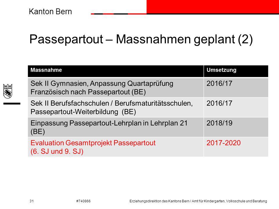 Kanton Bern #740866 Passepartout – Massnahmen geplant (2) 31Erziehungsdirektion des Kantons Bern / Amt für Kindergarten, Volksschule und Beratung