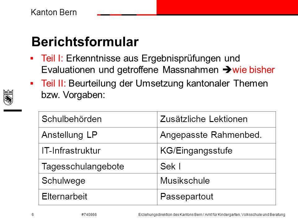 Kanton Bern #740866 Ausgewählte Beispiele aus Teil II: Schulbehörden 7Erziehungsdirektion des Kantons Bern / Amt für Kindergarten, Volksschule und Beratung  Art der Arbeitsorganisation und der Zusammenarbeit  Trennung strategisch-operativ  Mitwirkung der Lehrpersonen