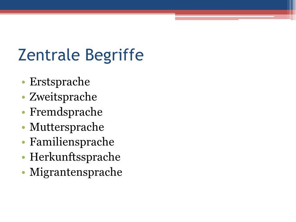 Zentrale Begriffe Erstsprache Zweitsprache Fremdsprache Muttersprache Familiensprache Herkunftssprache Migrantensprache