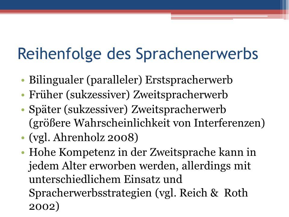 Reihenfolge des Sprachenerwerbs Bilingualer (paralleler) Erstspracherwerb Früher (sukzessiver) Zweitspracherwerb Später (sukzessiver) Zweitspracherwerb (größere Wahrscheinlichkeit von Interferenzen) (vgl.
