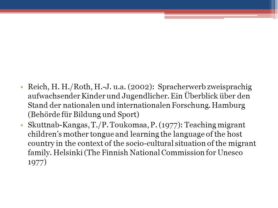 Reich, H. H./Roth, H.-J. u.a.