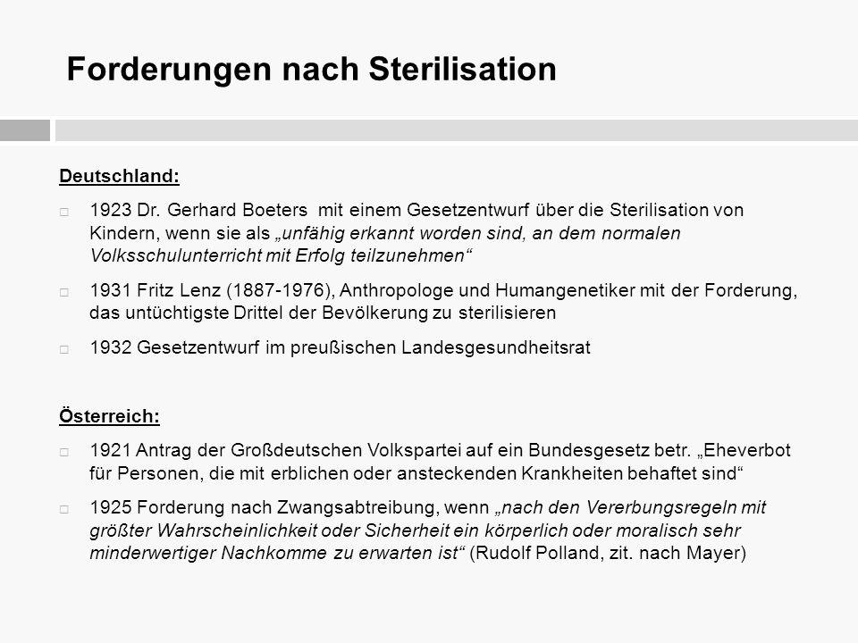 """Forderungen nach Sterilisation Deutschland:  1923 Dr. Gerhard Boeters mit einem Gesetzentwurf über die Sterilisation von Kindern, wenn sie als """"unfäh"""