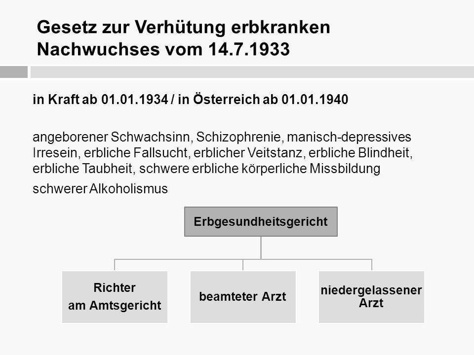 Gesetz zur Verhütung erbkranken Nachwuchses vom 14.7.1933 in Kraft ab 01.01.1934 / in Österreich ab 01.01.1940 angeborener Schwachsinn, Schizophrenie,