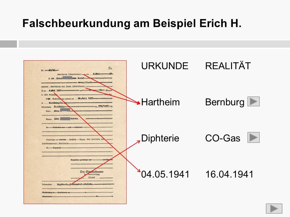 Falschbeurkundung am Beispiel Erich H. URKUNDEREALITÄT HartheimBernburg DiphterieCO-Gas 04.05.194116.04.1941