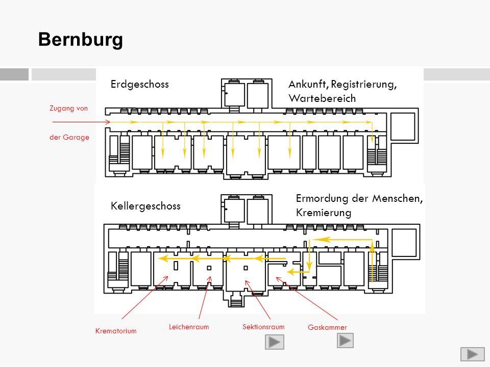 Bernburg ErdgeschossAnkunft, Registrierung, Wartebereich Kellergeschoss Ermordung der Menschen, Kremierung Krematorium Leichenraum Gaskammer Sektionsr