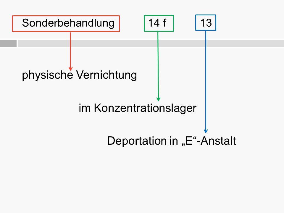 """physische Vernichtung im Konzentrationslager Deportation in """"E""""-Anstalt Sonderbehandlung 14 f 13"""