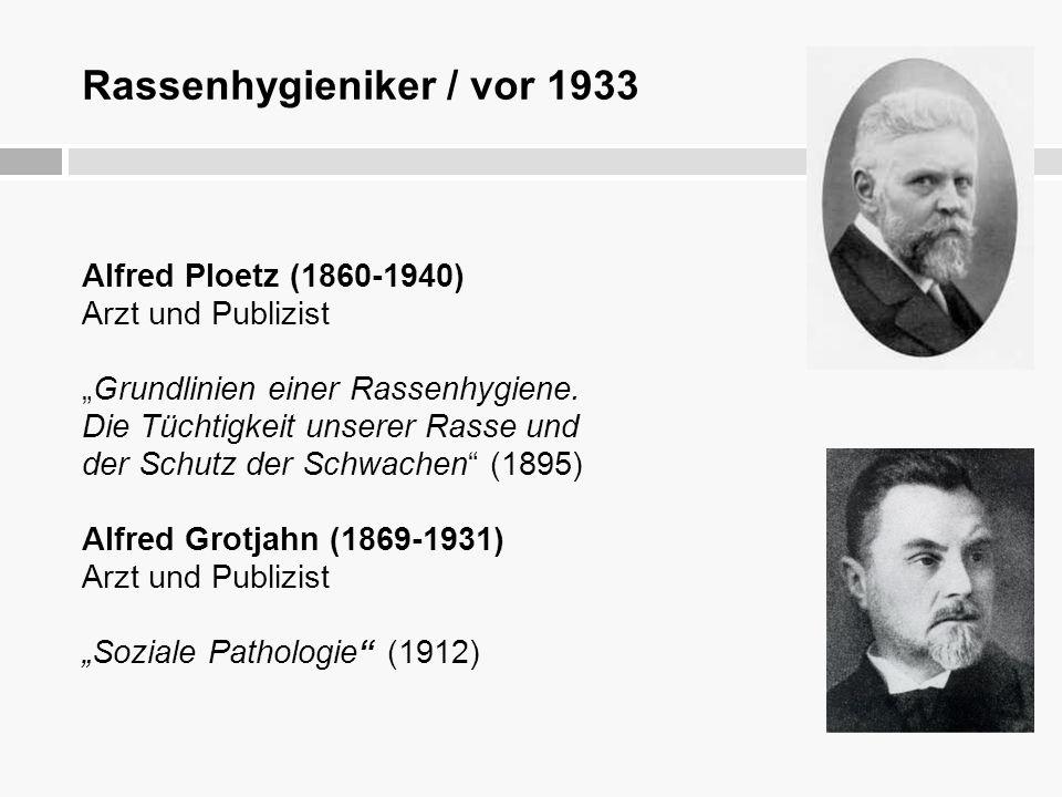"""Rassenhygieniker / vor 1933 Alfred Ploetz (1860-1940) Arzt und Publizist """"Grundlinien einer Rassenhygiene. Die Tüchtigkeit unserer Rasse und der Schut"""