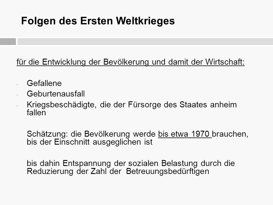 Folgen des Ersten Weltkrieges für die Entwicklung der Bevölkerung und damit der Wirtschaft: - Gefallene - Geburtenausfall - Kriegsbeschädigte, die der