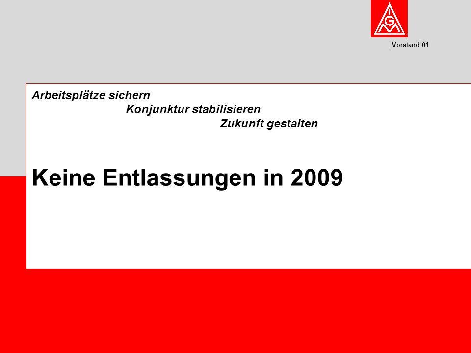 Vorstand 01 Arbeitsplätze sichern Konjunktur stabilisieren Zukunft gestalten Keine Entlassungen in 2009