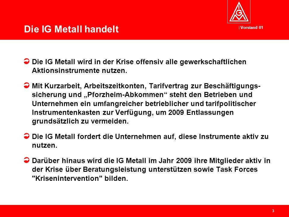 Vorstand 01 3 Die IG Metall handelt Die IG Metall wird in der Krise offensiv alle gewerkschaftlichen Aktionsinstrumente nutzen.