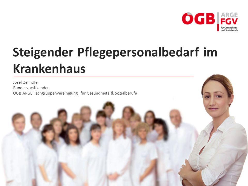 Steigender Pflegepersonalbedarf im Krankenhaus Josef Zellhofer Bundesvorsitzender ÖGB ARGE Fachgruppenvereinigung für Gesundheits & Sozialberufe
