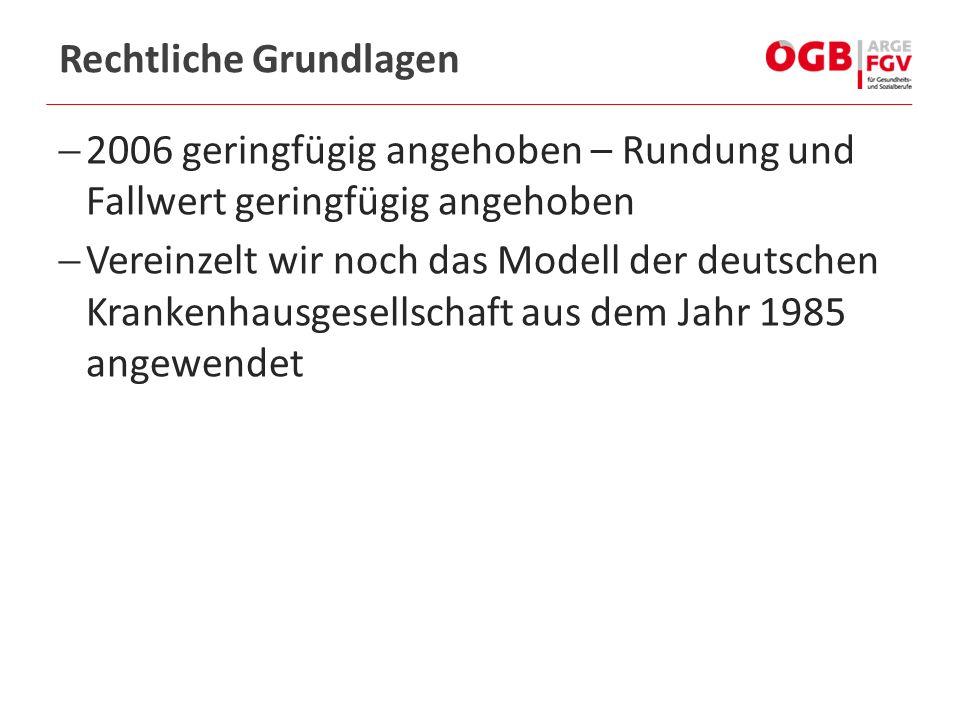  2006 geringfügig angehoben – Rundung und Fallwert geringfügig angehoben  Vereinzelt wir noch das Modell der deutschen Krankenhausgesellschaft aus dem Jahr 1985 angewendet Rechtliche Grundlagen