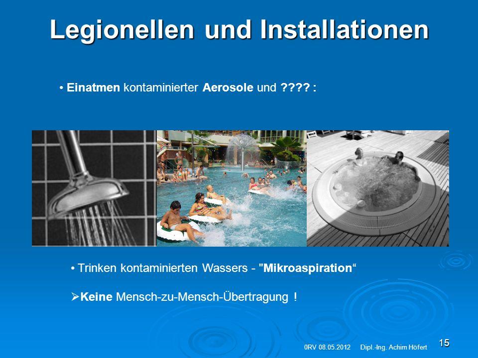 15 Legionellen und Installationen Einatmen kontaminierter Aerosole und ???? : Trinken kontaminierten Wassers -