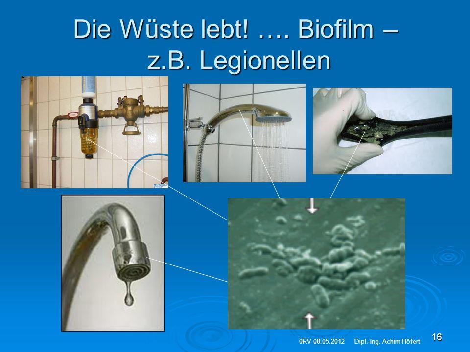 16 Die Wüste lebt! …. Biofilm – z.B. Legionellen 0RV 08.05.2012Dipl.-Ing. Achim Höfert