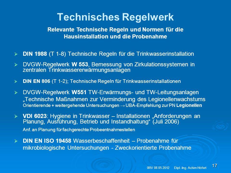 17 Technisches Regelwerk   DIN 1988 (T 1-8) Technische Regeln für die Trinkwasserinstallation   DVGW-Regelwerk W 553, Bemessung von Zirkulationssy