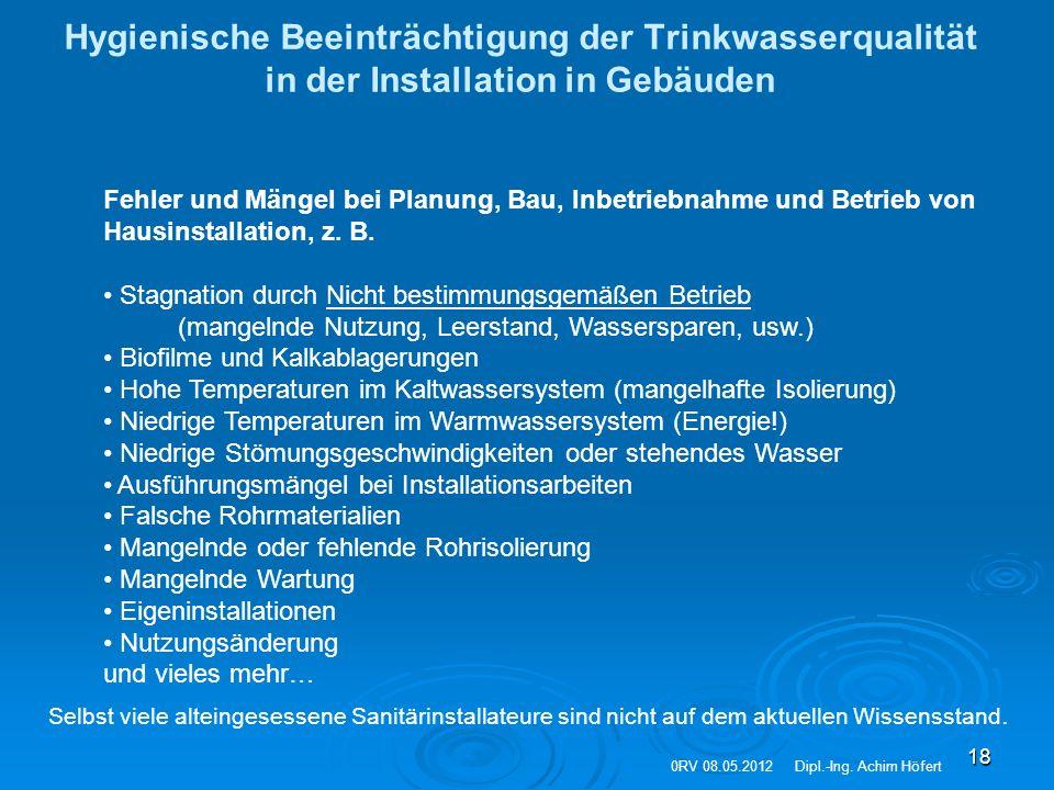 18 Hygienische Beeinträchtigung der Trinkwasserqualität in der Installation in Gebäuden Fehler und Mängel bei Planung, Bau, Inbetriebnahme und Betrieb