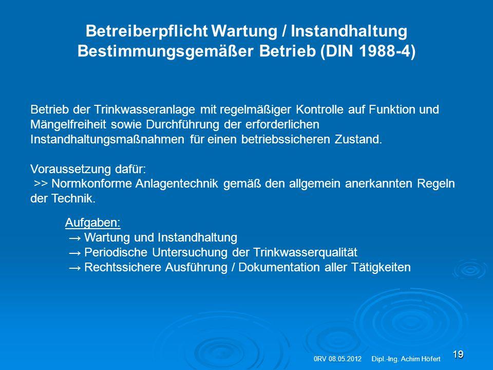 19 Betreiberpflicht Wartung / Instandhaltung Bestimmungsgemäßer Betrieb (DIN 1988-4) Betrieb der Trinkwasseranlage mit regelmäßiger Kontrolle auf Funk