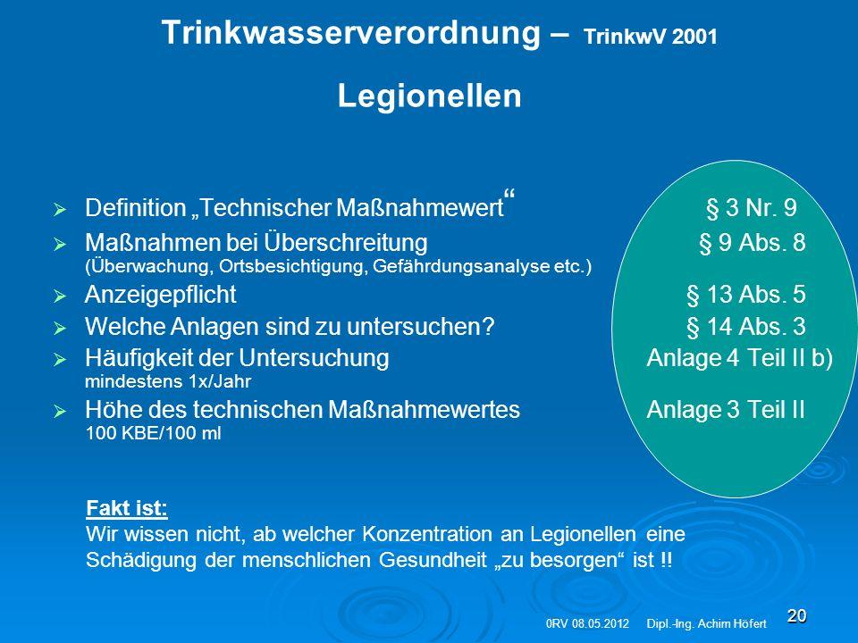 """20 Trinkwasserverordnung – TrinkwV 2001   Definition """"Technischer Maßnahmewert """" § 3 Nr. 9   Maßnahmen bei Überschreitung § 9 Abs. 8 (Überwachung,"""