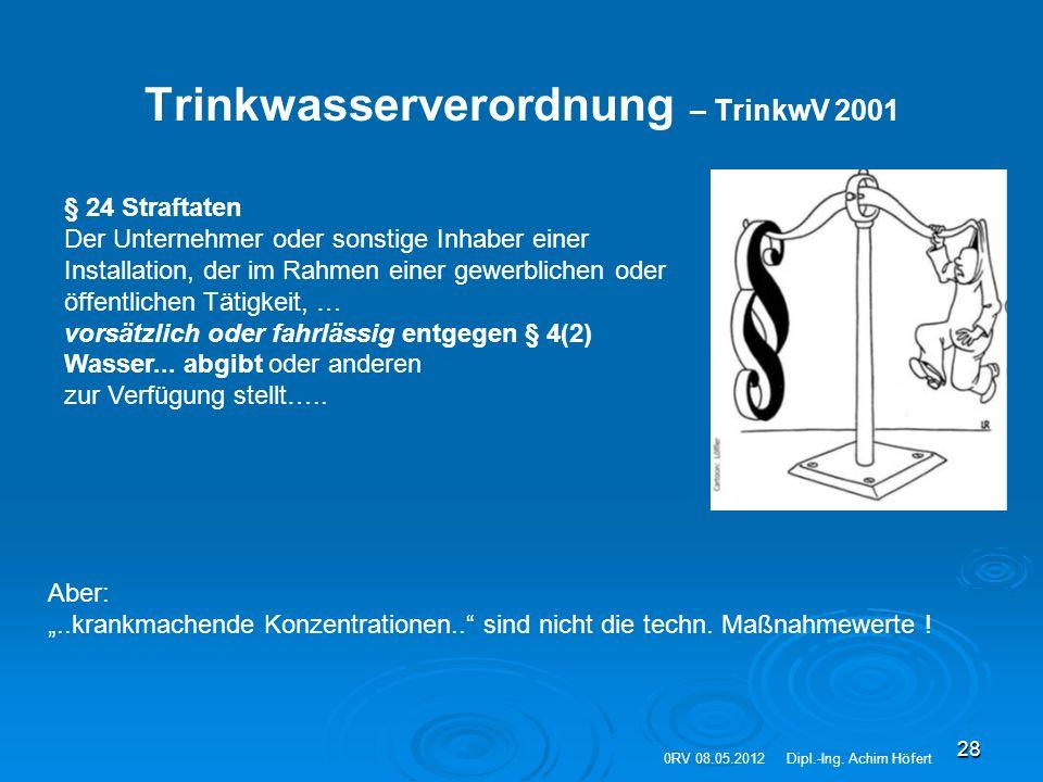 28 Trinkwasserverordnung – TrinkwV 2001 § 24 Straftaten Der Unternehmer oder sonstige Inhaber einer Installation, der im Rahmen einer gewerblichen ode