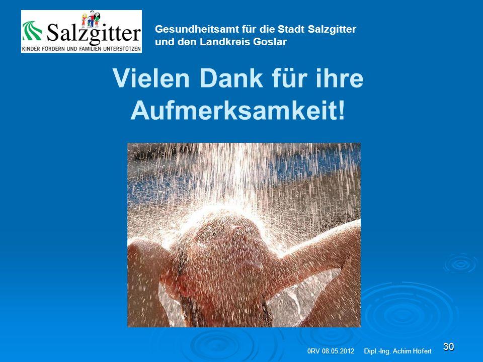 30 Vielen Dank für ihre Aufmerksamkeit! Gesundheitsamt für die Stadt Salzgitter und den Landkreis Goslar 0RV 08.05.2012Dipl.-Ing. Achim Höfert