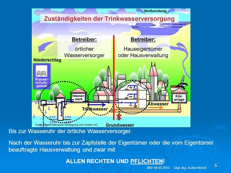 5 Bis zur Wasseruhr der örtliche Wasserversorger. Nach der Wasseruhr bis zur Zapfstelle der Eigentümer oder die vom Eigentümer beauftragte Hausverwalt