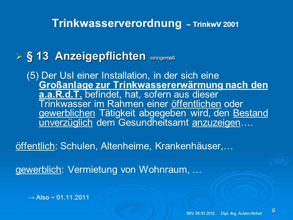 """17 Technisches Regelwerk   DIN 1988 (T 1-8) Technische Regeln für die Trinkwasserinstallation   DVGW-Regelwerk W 553, Bemessung von Zirkulationssystemen in zentralen Trinkwassererwärmungsanlagen   DIN EN 806 (T 1-2); Technische Regeln für Trinkwasserinstallationen   DVGW-Regelwerk W551 TW-Erwärmungs- und TW-Leitungsanlagen """"Technische Maßnahmen zur Verminderung des Legionellenwachstums Orientierende + weitergehende Untersuchungen → UBA-Empfehlung zur PN Legionellen   VDI 6023: Hygiene in Trinkwasser – Installationen """"Anforderungen an Planung, Ausführung, Betrieb und Instandhaltung (Juli 2006) Anf."""