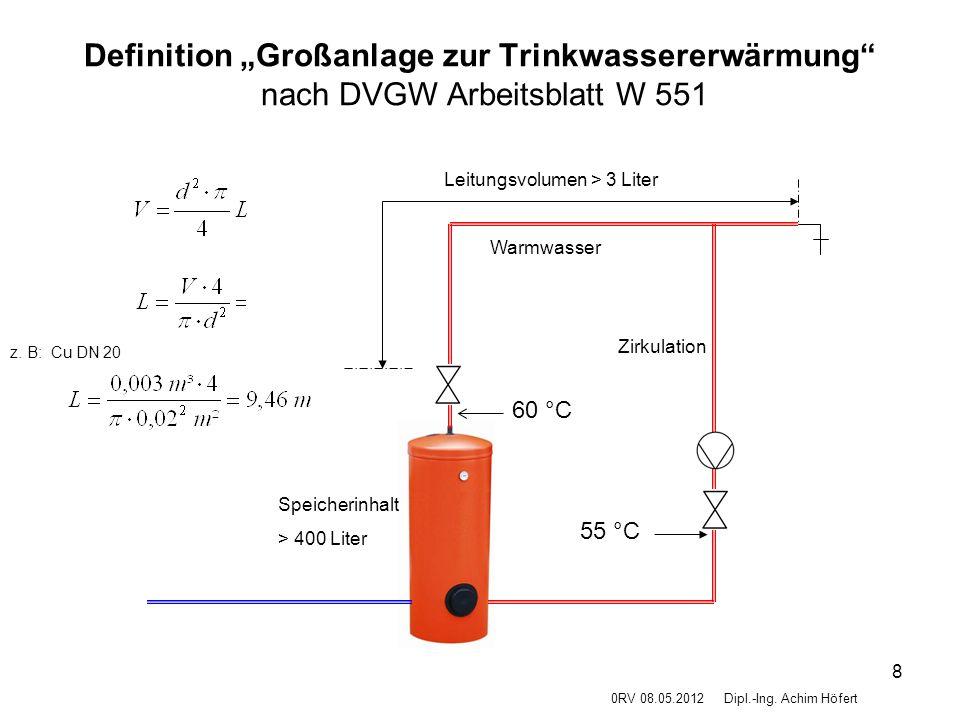 """8 Definition """"Großanlage zur Trinkwassererwärmung"""" nach DVGW Arbeitsblatt W 551 0RV 08.05.2012Dipl.-Ing. Achim Höfert Speicherinhalt > 400 Liter Warmw"""
