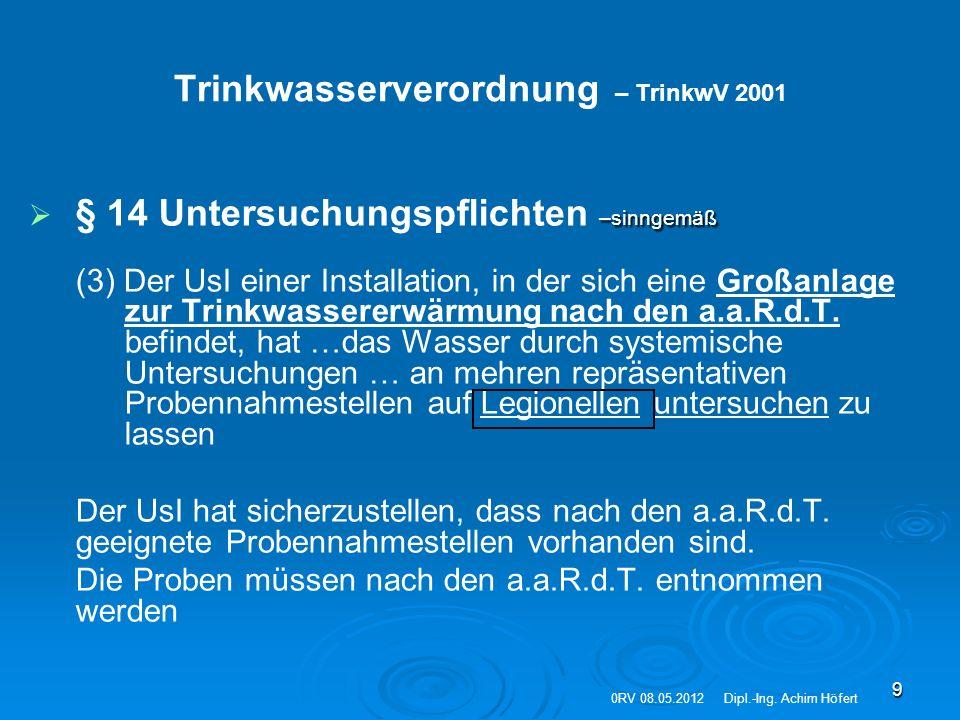 9 Trinkwasserverordnung – TrinkwV 2001  –sinngemäß  § 14 Untersuchungspflichten –sinngemäß (3) Der UsI einer Installation, in der sich eine Großanla