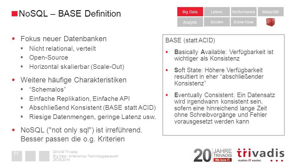 2014 © Trivadis  Fokus neuer Datenbanken  Nicht relational, verteilt  Open-Source  Horizontal skalierbar (Scale-Out)  Weitere häufige Charakteristiken  Schemalos  Einfache Replikation, Einfache API  Abschließend Konsistent (BASE statt ACID)  Riesige Datenmengen, geringe Latenz usw.