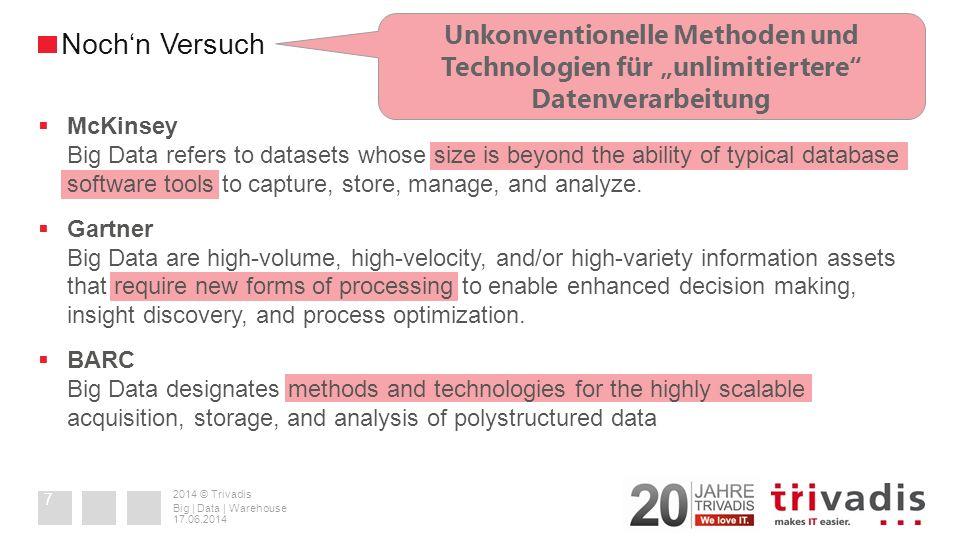 2014 © Trivadis + 35 Jahre relationale Datenbankmanagementsysteme (RDBMS) & ACID + 25+ Jahre relationale Reporting- und Business Intelligence Tools + Partitionierung, Parallelisierung, Clustering (incl.