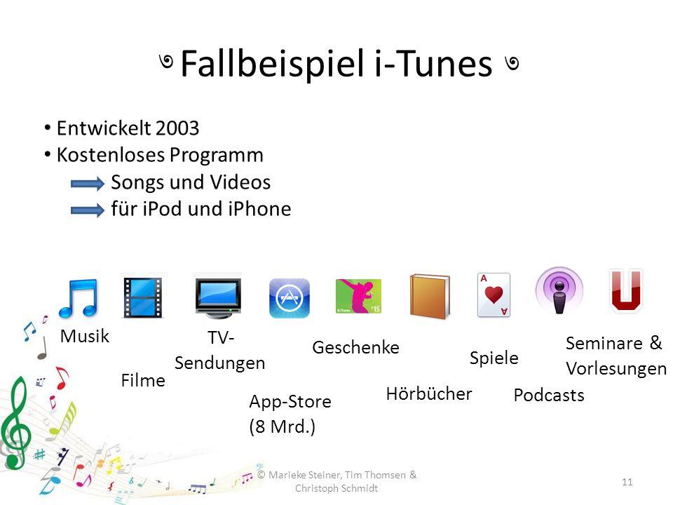 Fallbeispiel i-Tunes 11 © Marieke Steiner, Tim Thomsen & Christoph Schmidt ৩ ৩ Entwickelt 2003 Kostenloses Programm Songs und Videos für iPod und iPho