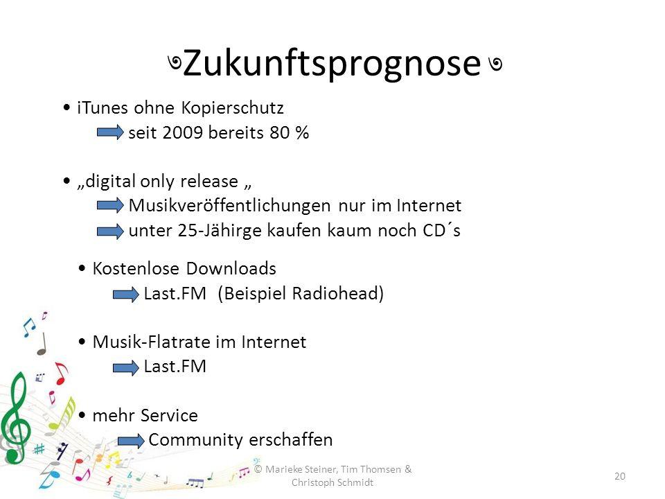 Zukunftsprognose 20 © Marieke Steiner, Tim Thomsen & Christoph Schmidt ৩ ৩ Kostenlose Downloads Last.FM (Beispiel Radiohead) Musik-Flatrate im Interne