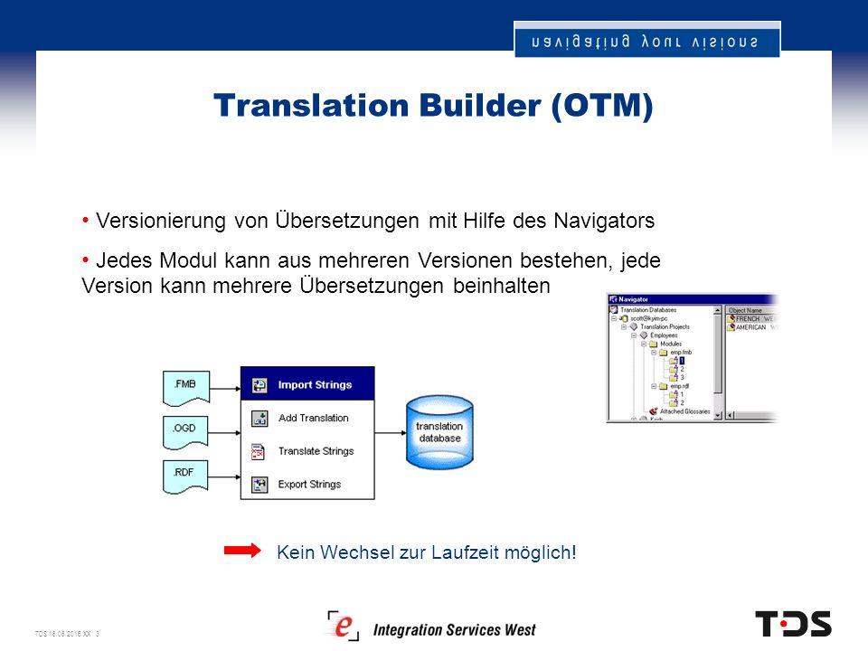 TDS 18.06.2016 XX 3 Translation Builder (OTM) Kein Wechsel zur Laufzeit möglich.
