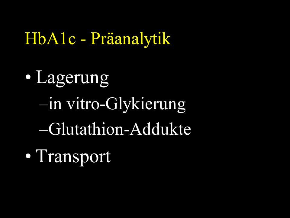 HbA1c - Präanalytik Lagerung –in vitro-Glykierung –Glutathion-Addukte Transport