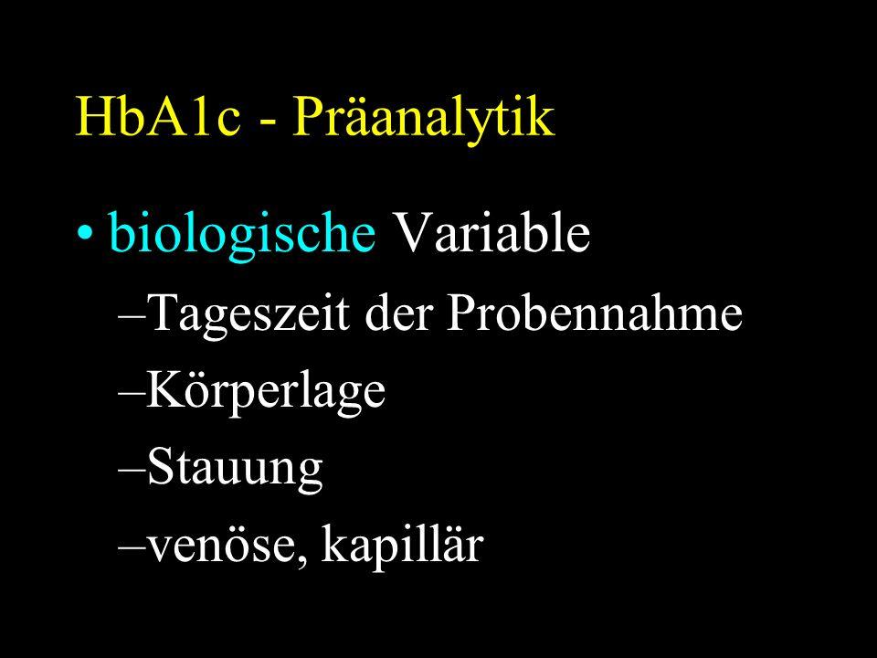 HbA1c - Präanalytik biologische Variable –Tageszeit der Probennahme –Körperlage –Stauung –venöse, kapillär