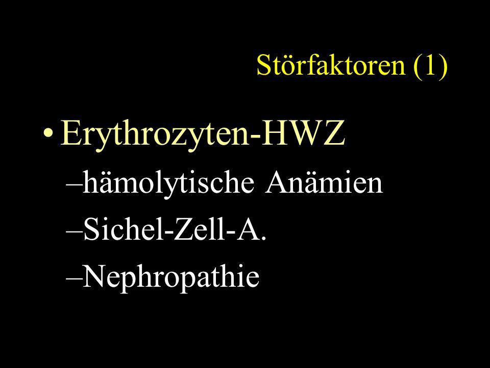 Störfaktoren (1) Erythrozyten-HWZ –hämolytische Anämien –Sichel-Zell-A. –Nephropathie