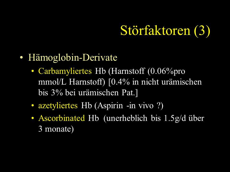 Störfaktoren (3) Hämoglobin-Derivate Carbamyliertes Hb (Harnstoff (0.06%pro mmol/L Harnstoff) [0.4% in nicht urämischen bis 3% bei urämischen Pat.] azetyliertes Hb (Aspirin -in vivo ) Ascorbinated Hb (unerheblich bis 1.5g/d über 3 monate)