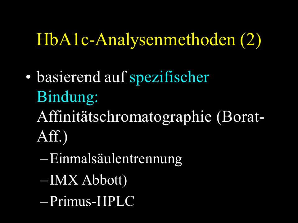 HbA1c-Analysenmethoden (2) basierend auf spezifischer Bindung: Affinitätschromatographie (Borat- Aff.) –Einmalsäulentrennung –IMX Abbott) –Primus-HPLC
