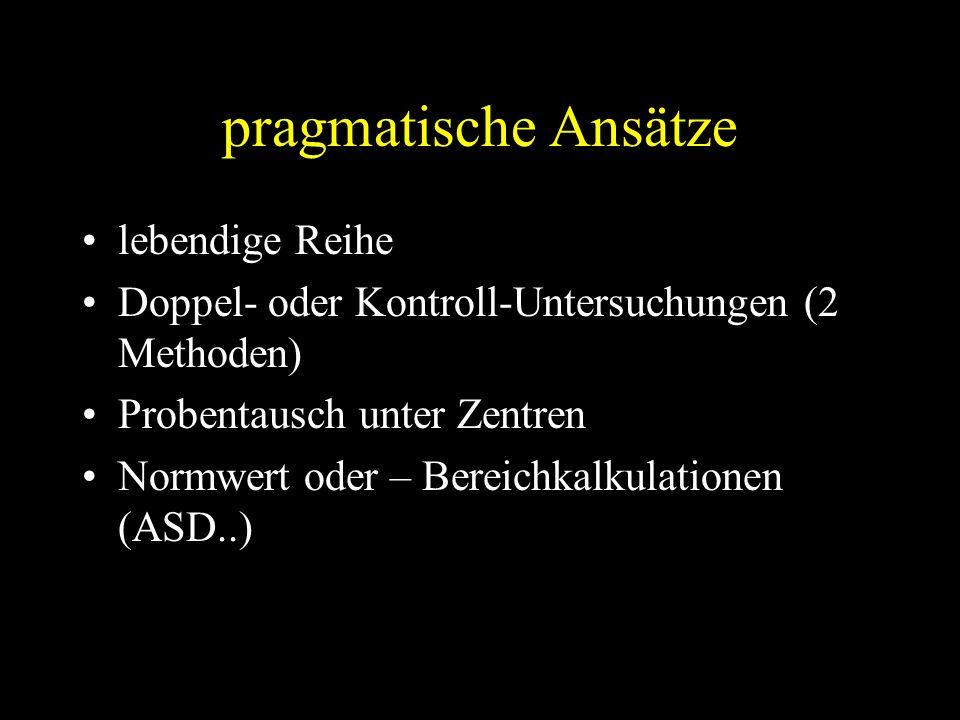 pragmatische Ansätze lebendige Reihe Doppel- oder Kontroll-Untersuchungen (2 Methoden) Probentausch unter Zentren Normwert oder – Bereichkalkulationen (ASD..)