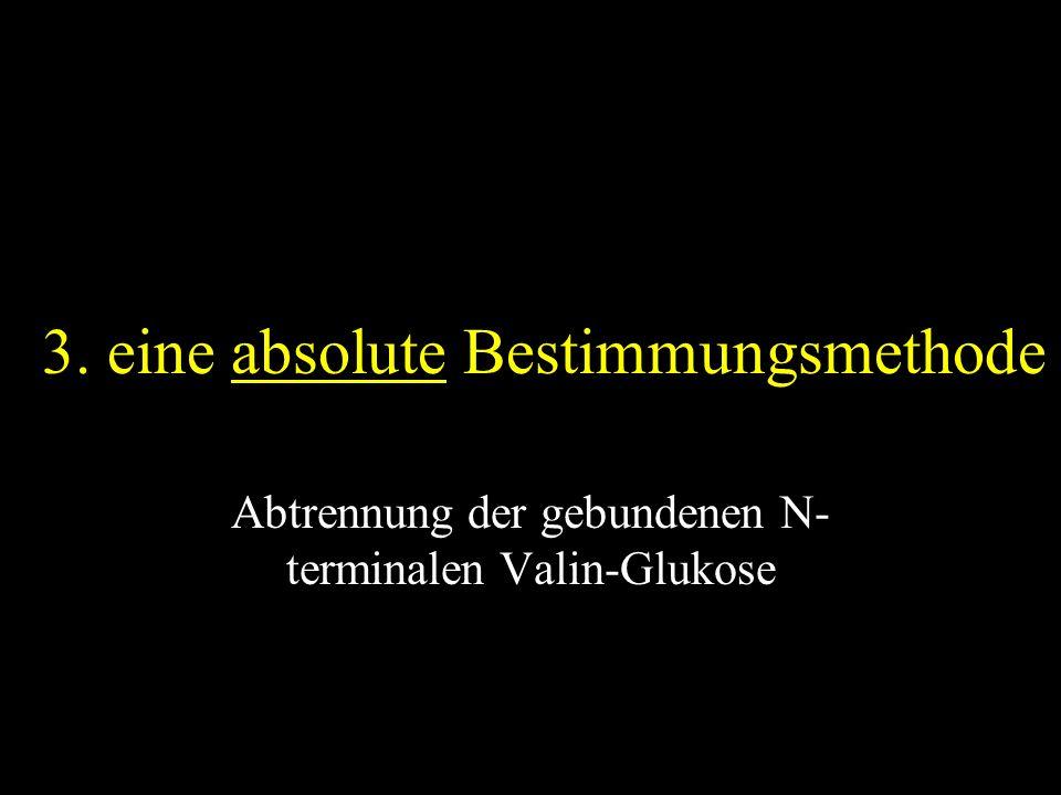 3. eine absolute Bestimmungsmethode Abtrennung der gebundenen N- terminalen Valin-Glukose