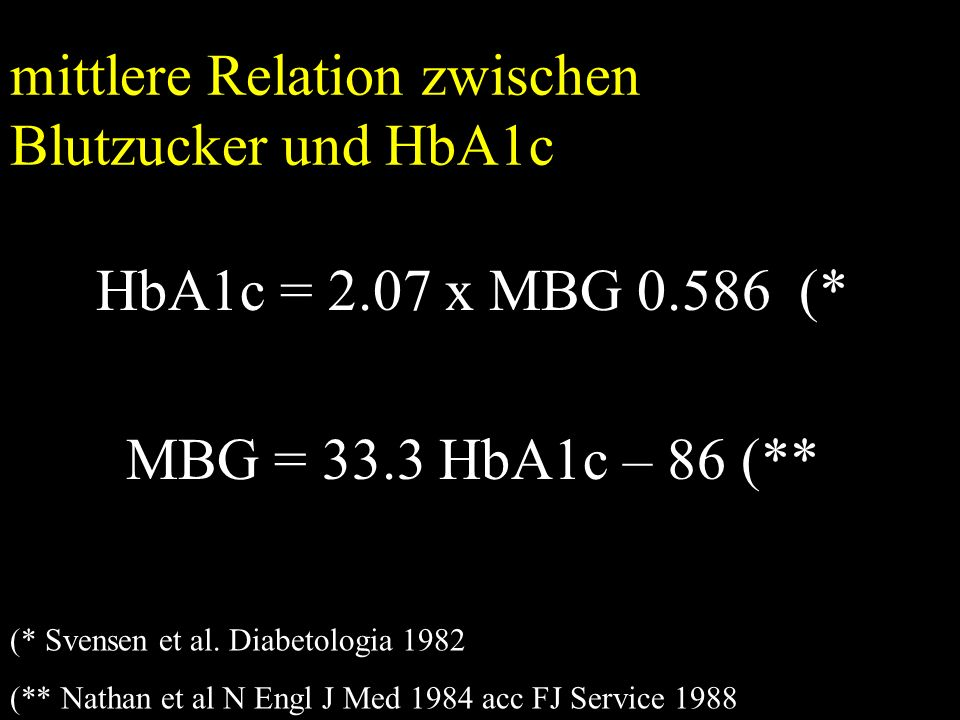 mittlere Relation zwischen Blutzucker und HbA1c HbA1c = 2.07 x MBG 0.586 (* MBG = 33.3 HbA1c – 86 (** (* Svensen et al.