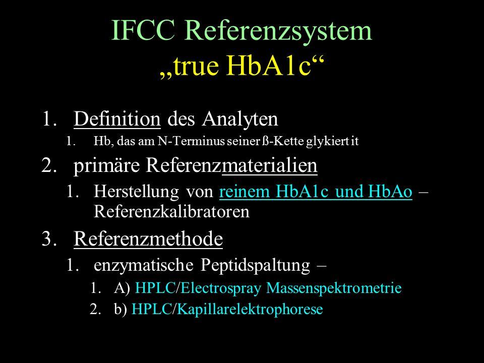 """IFCC Referenzsystem """"true HbA1c 1.Definition des Analyten 1.Hb, das am N-Terminus seiner ß-Kette glykiert it 2.primäre Referenzmaterialien 1.Herstellung von reinem HbA1c und HbAo – Referenzkalibratoren 3.Referenzmethode 1.enzymatische Peptidspaltung – 1.A) HPLC/Electrospray Massenspektrometrie 2.b) HPLC/Kapillarelektrophorese"""
