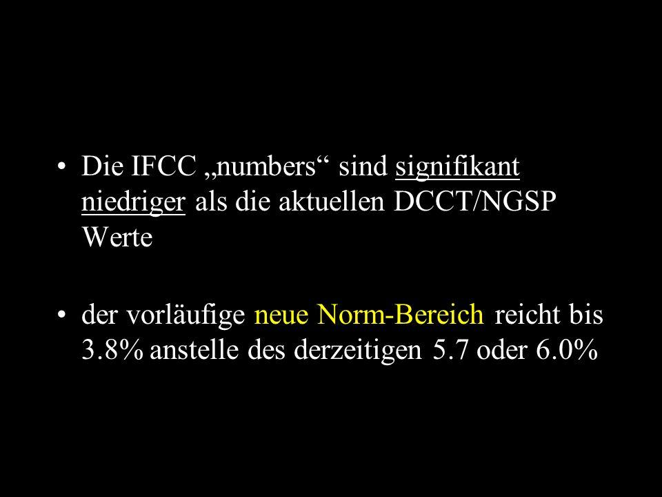 """Die IFCC """"numbers sind signifikant niedriger als die aktuellen DCCT/NGSP Werte der vorläufige neue Norm-Bereich reicht bis 3.8% anstelle des derzeitigen 5.7 oder 6.0%"""