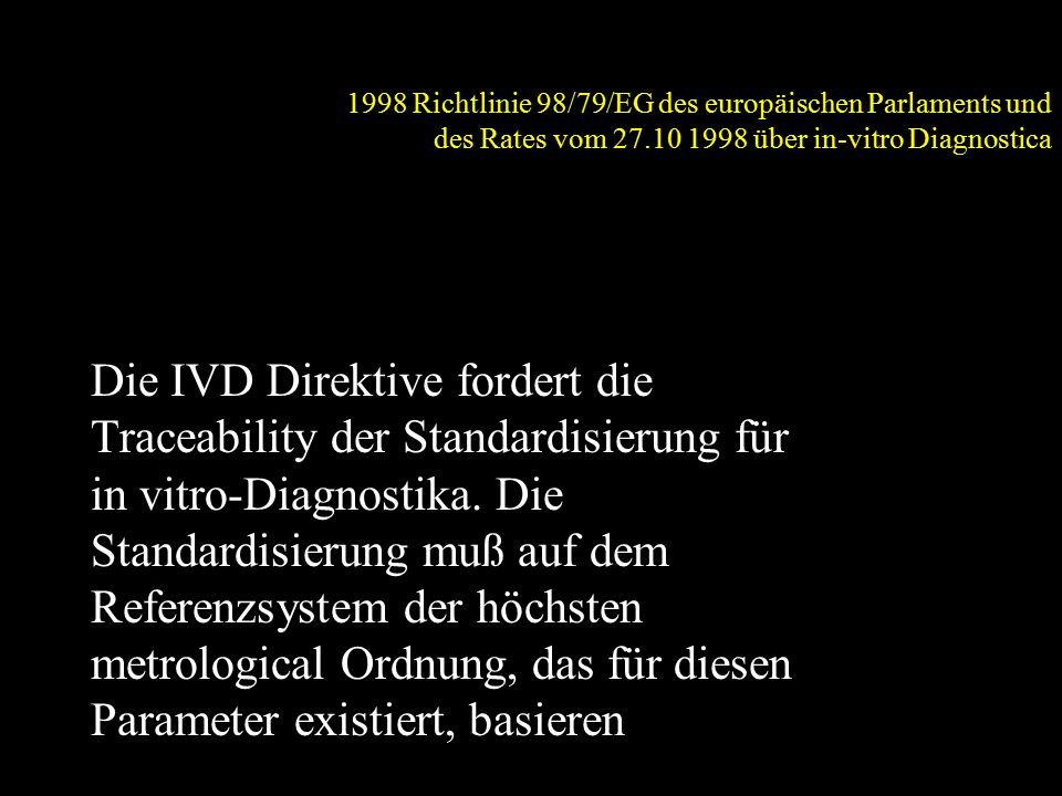 1998 Richtlinie 98/79/EG des europäischen Parlaments und des Rates vom 27.10 1998 über in-vitro Diagnostica Die IVD Direktive fordert die Traceability der Standardisierung für in vitro-Diagnostika.
