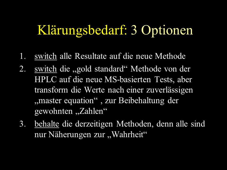 """Klärungsbedarf: 3 Optionen 1.switch alle Resultate auf die neue Methode 2.switch die """"gold standard Methode von der HPLC auf die neue MS-basierten Tests, aber transform die Werte nach einer zuverlässigen """"master equation , zur Beibehaltung der gewohnten """"Zahlen 3.behalte die derzeitigen Methoden, denn alle sind nur Näherungen zur """"Wahrheit"""