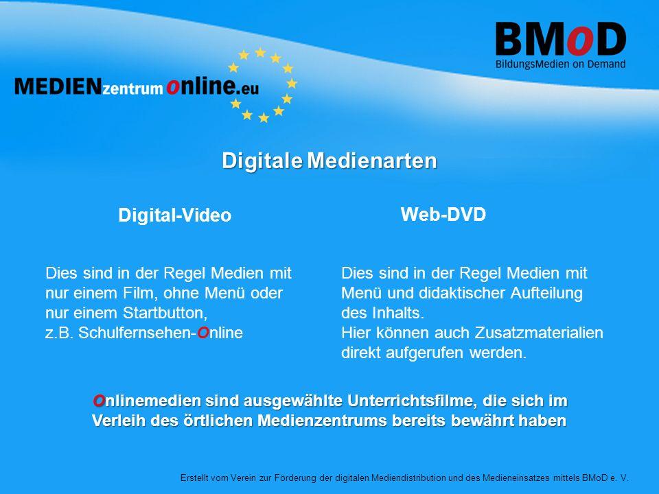 Digitale Medienarten Digital-Video Web-DVD Dies sind in der Regel Medien mit nur einem Film, ohne Menü oder nur einem Startbutton, z.B. Schulfernsehen
